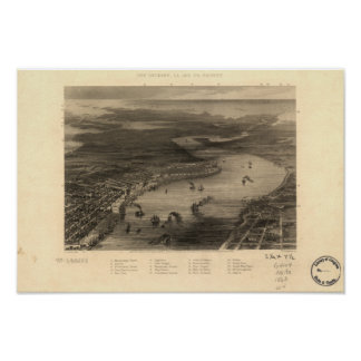 Mapa panorámico de New Orleans Luisiana 1863 Poster
