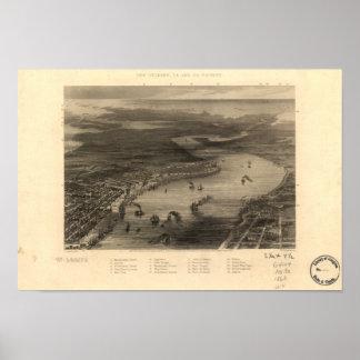 Mapa panorámico de New Orleans Luisiana 1863 Póster