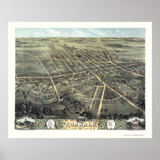 Mapa panorámico de Norwalk, OH - 1870 Póster