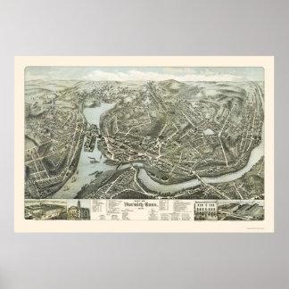 Mapa panorámico de Norwich CT - 1876 Póster