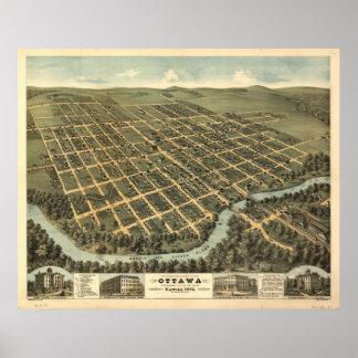 Mapa panorámico de Ottawa Kansas 1872 Poster