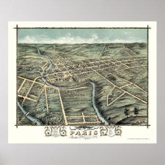 Mapa panorámico de París, KY - 1870 Impresiones