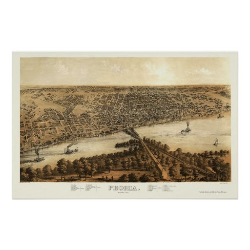Mapa panorámico de Peoria, IL - 1867 Póster