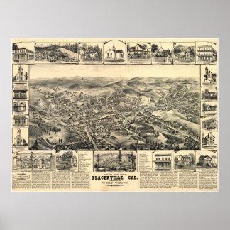 Mapa panorámico de Placerville California 1888 Poster