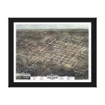 Mapa panorámico de Raleigh NC DIGITAL VUELTO A MEZ Lona Envuelta Para Galerias
