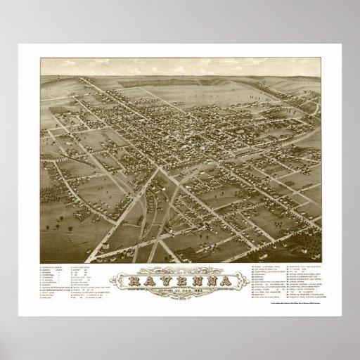 Mapa panorámico de Ravena, OH - 1882 Póster