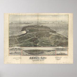 mapa panorámico de Rockport mA Birdseye del final  Poster