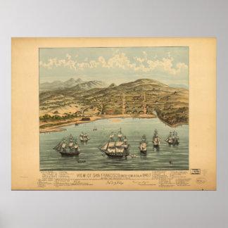 Mapa panorámico de San Francisco California 1846 Poster