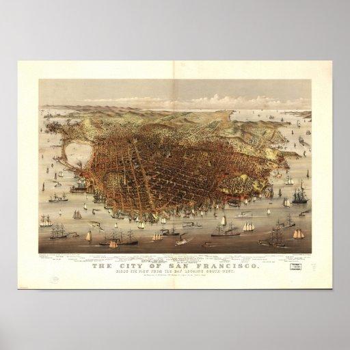 Mapa panorámico de San Francisco California 1878 Póster