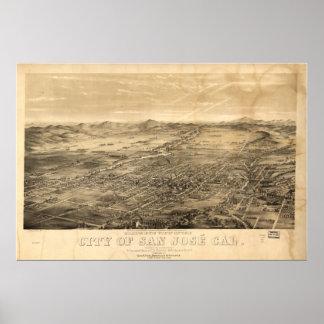 Mapa panorámico de San Jose California 1869 Póster