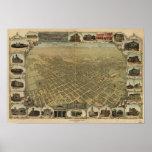 Mapa panorámico de San Jose California 1901 Poster