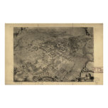 Mapa panorámico de Santa Barbara California 1896 Poster