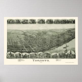 Mapa panorámico de Toronto, OH - 1889 Posters