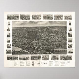 Mapa panorámico de Wallingford Connecticut 1905 Póster