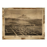 Mapa panorámico de Yreka y del Mt Shasta Calif 188 Posters