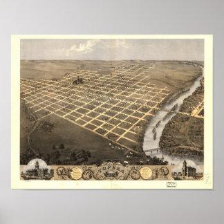 Mapa panorámico del Topeka Kansas 1869 Póster