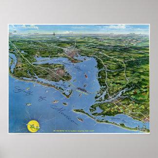 Mapa panorámico del vintage de la costa oeste de l póster