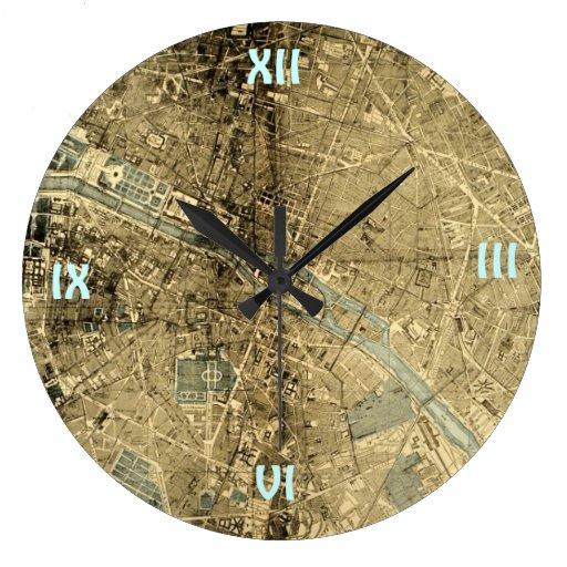 Mapa París del vintage Reloj De Pared