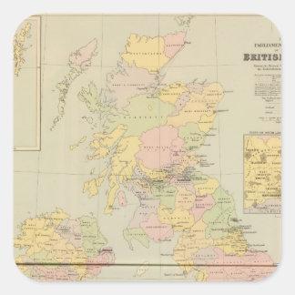Mapa parlamentario, islas británicas pegatina cuadrada