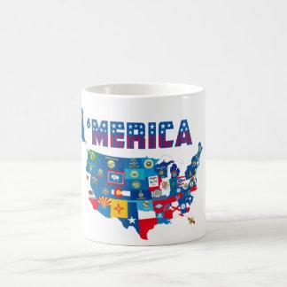 Mapa patriótico de América con la taza de las band