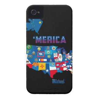 Mapa patriótico de América con las banderas de los iPhone 4 Case-Mate Carcasa
