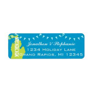 Mapa pendiente de Michigan de las etiquetas de dev Etiqueta De Remite