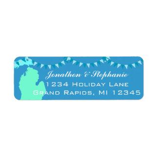 Mapa pendiente de Michigan de las etiquetas de Etiqueta De Remite