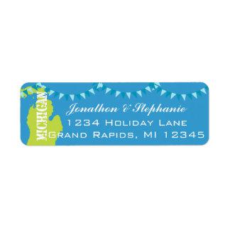Mapa pendiente de Michigan de las etiquetas de Etiqueta De Remitente