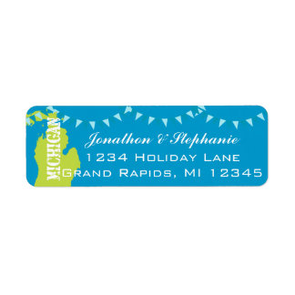Mapa pendiente de Michigan de las etiquetas de Etiquetas De Remite