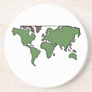 Mapa plano de los continentes posavasos diseño