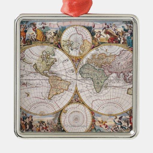 Mapa polar del hemisferio doble adorno navideño cuadrado de metal