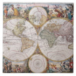 Mapa polar del hemisferio doble azulejo cerámica