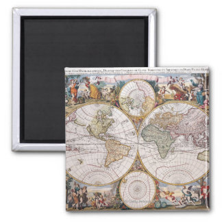 Mapa polar del hemisferio doble imán cuadrado