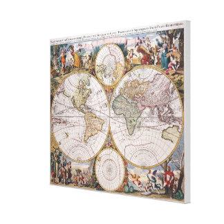 Mapa polar del hemisferio doble lienzo envuelto para galerias