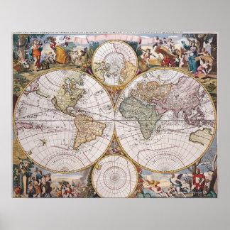 Mapa polar del hemisferio doble poster