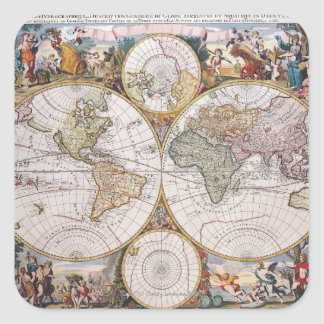 Mapa polar del hemisferio doble pegatina cuadrada