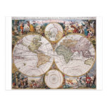 Mapa polar del hemisferio doble postales