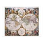 Mapa polar del hemisferio doble tarjeta postal