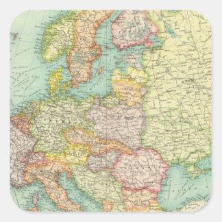 Mapa político de Europa Pegatina Cuadrada