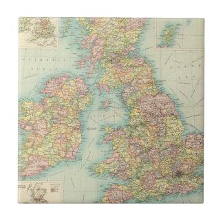 Mapa político de las islas británicas azulejo cuadrado pequeño