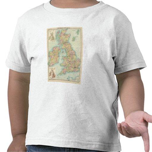 Mapa político de las islas británicas camisetas