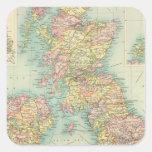 Mapa político de las islas británicas calcomanía cuadradas personalizadas