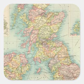 Mapa político de las islas británicas pegatina cuadrada