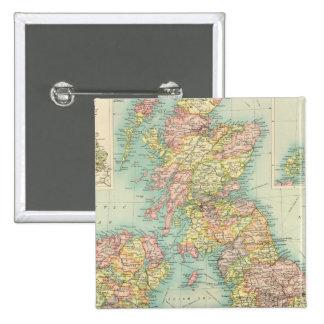 Mapa político de las islas británicas pin cuadrado