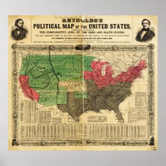 Mapa político de Reynolds de los Estados Unidos Póster