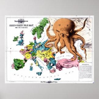Mapa político del dibujo animado del vintage de Eu Póster