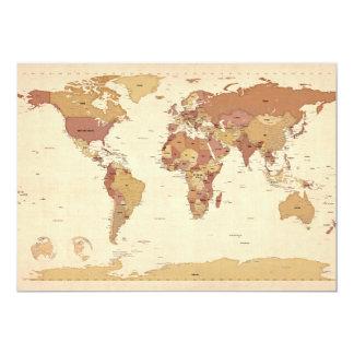 Mapa político del mapa del mundo invitación 12,7 x 17,8 cm