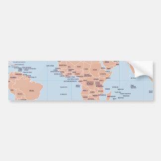 Mapa político del mundo etiqueta de parachoque