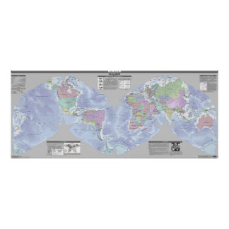 Mapa político del mundo de Cahill-Keyes Posters
