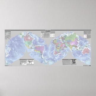 Mapa político del mundo de Cahill-Keyes Póster